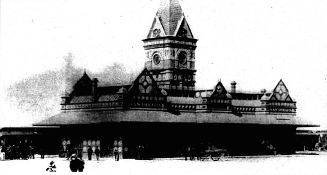California Southern Railroad Depot, downtown San Diego, c. 1888. An imposing Victorian presence with a massive central tower impresses everyone who stands before it.
