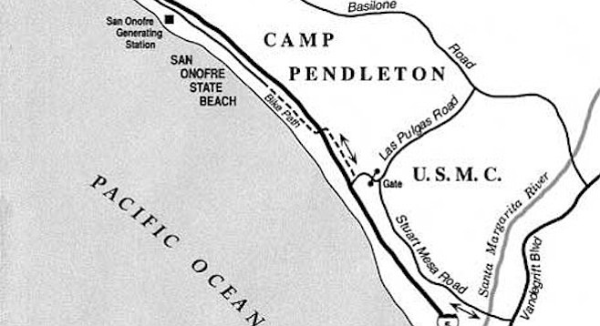 No word back yet on what the Marines think about giving up 5000 acres of Camp Pendleton — which covers approximately 125,000 acres.