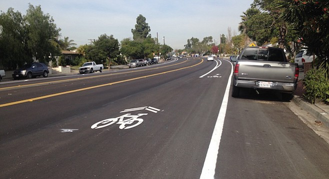 New bike lane on Clairemont Drive