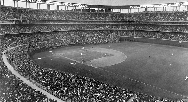 San Diego Stadium, April, 1969. Only 23,370 customers paid their way to witness First Opening Day.
