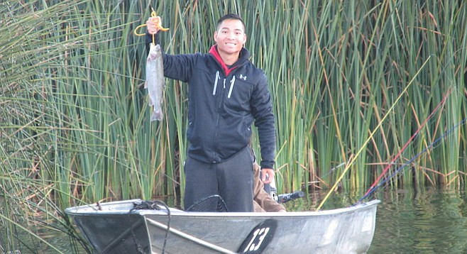Thai Dinh hooked the first fish of the season at Lake Wohlford