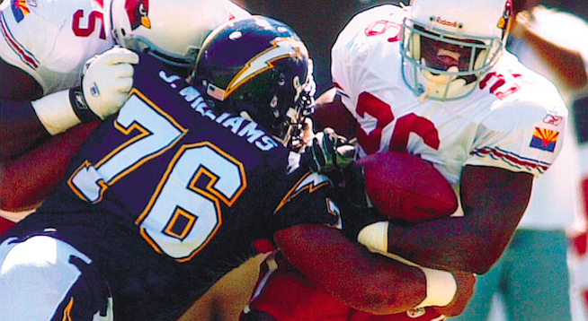 Jamal Williams (76) in Chargers – Cardinals game, 9/22/02