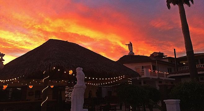 Sunset over the Baja Calypso patio.