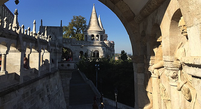 The hilltop Fisherman's Bastion on the Buda (quieter) side of the city.