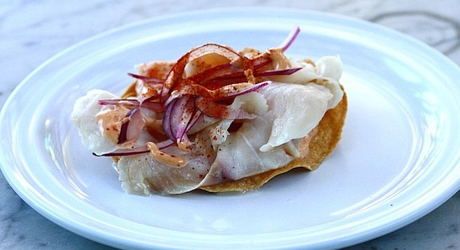 Their signature ceviche, the Red Snapper Tostada