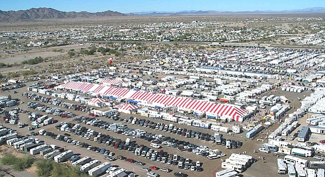 Snowbirds flock to Quartzsite in January, when the tiny desert town can swell in size to 250,000 plus.