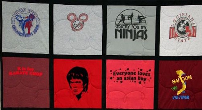 "Don't throw out your ""Everyone loves an Asian boy"" t-shirt. Make a t-shirt quilt!"