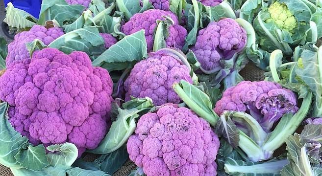Purple cauliflower at the PB Farmers' Market