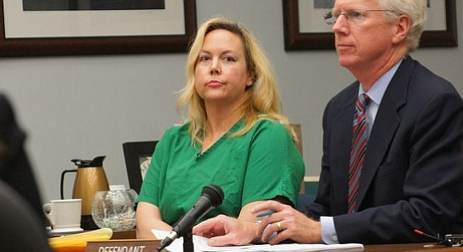 Julie Harper wanted her handcuffs removed but the bailiff and judge said no.