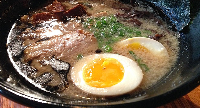 Ramen with pork, scallions, egg, mushrooms, and bamboo shoots