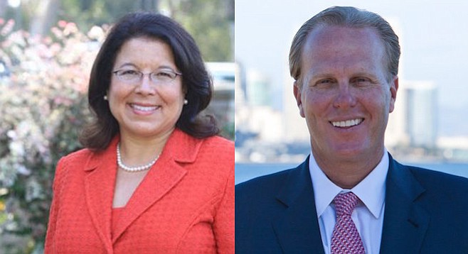 Lori Saldaña and Kevin Faulconer