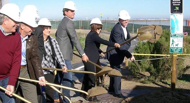 Politicians break ground on Bikeway Village project, January 25, 2016
