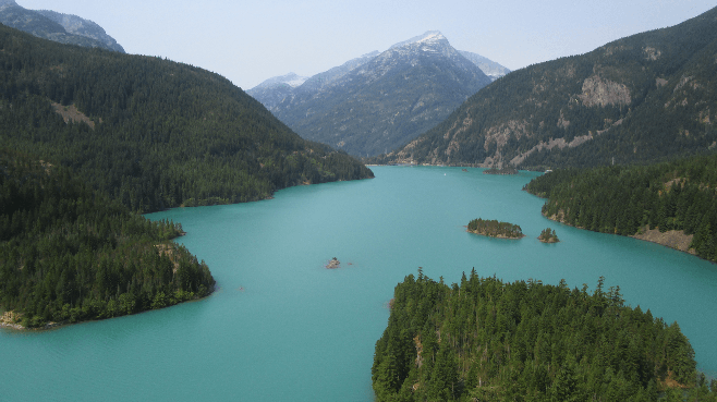 The view from North Cascades NP's Diablo Lake Overlook.