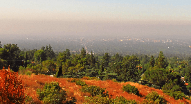 L.A. smog over Altadena, 15 miles northeast in the San Gabriel foothills