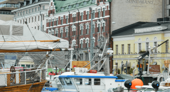 Helsinki's busy harbor.