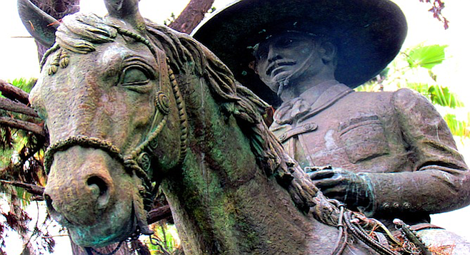 This bronze Mexican vaquero statue commemorates the Presidio's 200th anniversary in 1969.