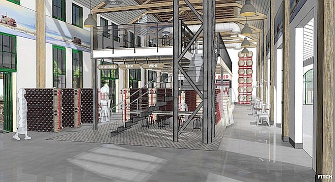 A rendering of the Liberty Public Market indicates placement of beer, wine and cocktails was always in the cards.