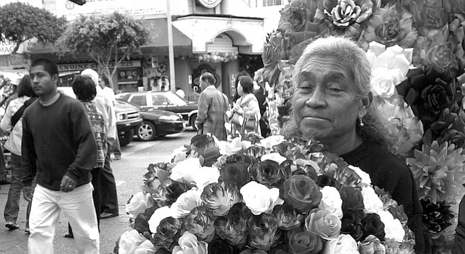 Near Third Street and Avenida Revolución. On an average weekend, Cervantes and Arias say they sell about 80 flowers, which go for a buck apiece for the large varieties, three for a dollar for the rositas.