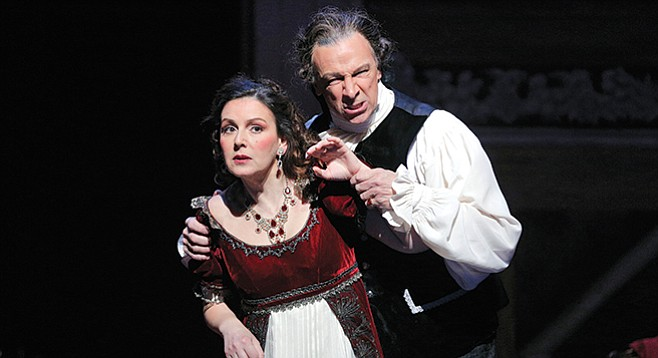 Soprano Alexia Voulgaridou is Tosca and bass-baritone Greer Grimsley is Scarpia in San Diego Opera's Tosca