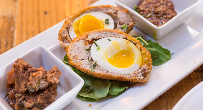 Scotch egg with ploughman's pickle and coarse mustard