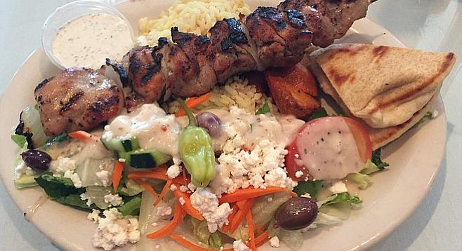 Chicken souvlaki lunch special