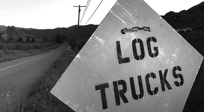 The trucks are hauling the wood west, down the hill to Santa Ysabel, then north on Highway 79 through Warner Springs and finally to the Corona Ranch sod farm on the east edge of Temecula.