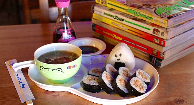 Miso soup, onigiri, and spicy tuna mako sushi