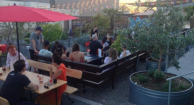 People drinking beer in a garden setting at North Park's new ChuckAlek Biergarten.