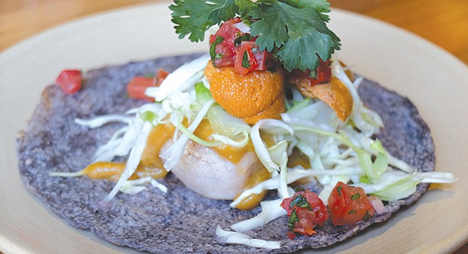 Galaxy Taco's raw uni and grilled yellowtail taco