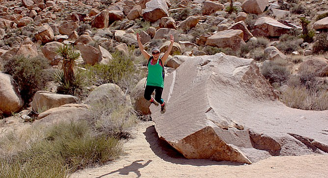 Climbing and jumping around in the park's desert wonderland.