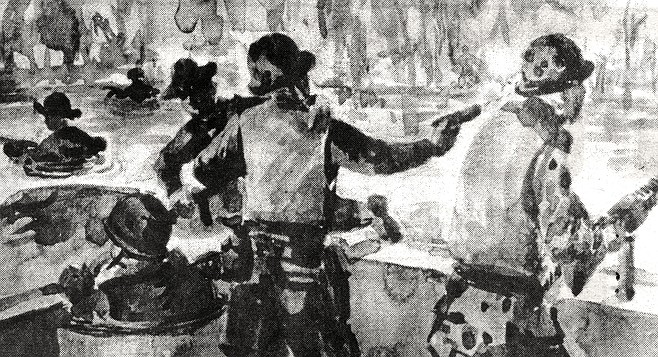 "Extraction of SEAL Team Two, Alpha Squad; watercolor sketch. ""Marciano says to me, 'You have to watch.  When I fire, make sure the gun belt doesn't twist on me.'"""