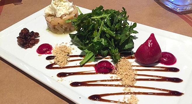 Beet and burrata salad with arugula