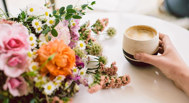 Coffee shops and flower shops are enjoying symbiotic relationships in San Diego.
