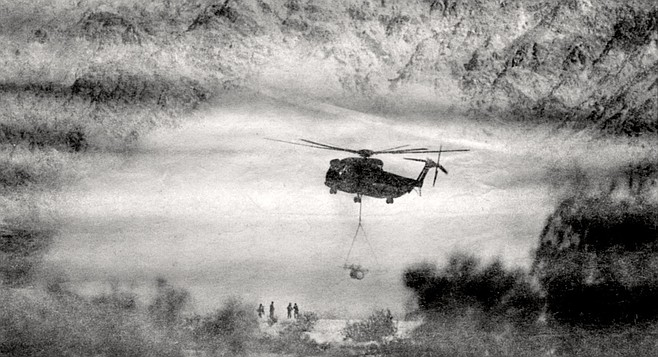 CH-53 marine helicopter airlifts a cannon. What we have allowed to happen is an insult to nature.