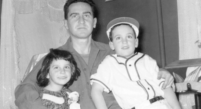 Richard Meltzer with his sister and father