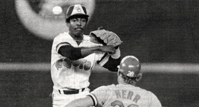 Alan Wiggins turns a double play against the St. Louis Cardinals during the 1984 championship season