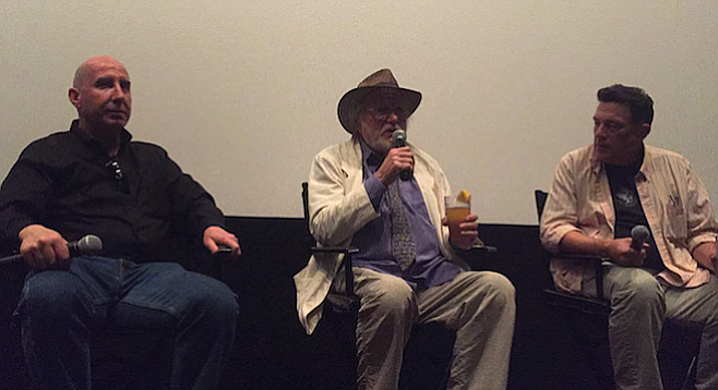 Taking on the crowd at the Angelika Film Center: Chris Concannon, Robert Cenedella, and Scott Marks