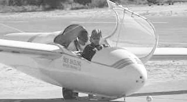 Glider preparing for takeoff