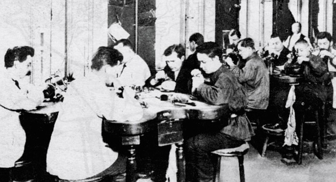 Interior of Faberge workshop. Fabergé found two enormously talented men, deeply schooled in Russian folk traditions, who were able to adapt and pervert those indigenous traditions to the taste of its ga-ga aristocracy.