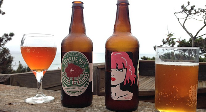 Pours of Strawberry Fields and Strawberry Blondie, both beers by Acoustic Ales Brewing Experiment.