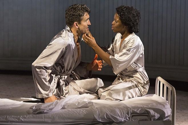 Abetted by a wife (Marsha Stephanie Blake) who questions his manhood, Macbeth (Jonathan Cake) murders King Duncan.