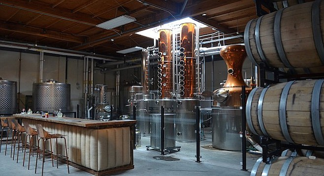 Malahat's got a larger than average craft spirit tasting room, accessed through a maze in Miramar.