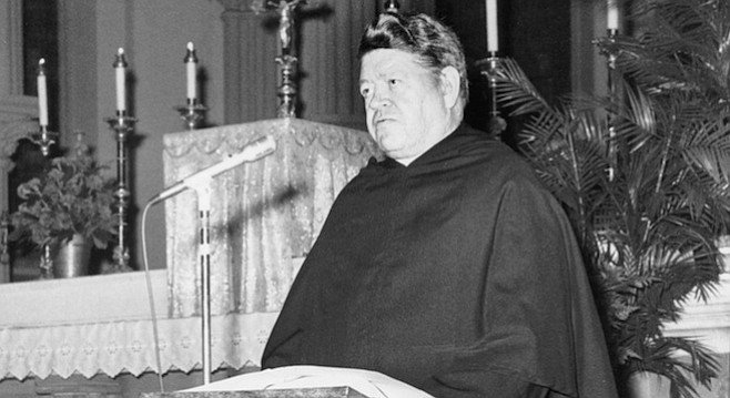 As a teenage student at St. Augustine High from 1952 to 1956, I saw Aherne almost daily, yet he remained a mystery to me.  He was aloof, austere, a huge dominating figure.