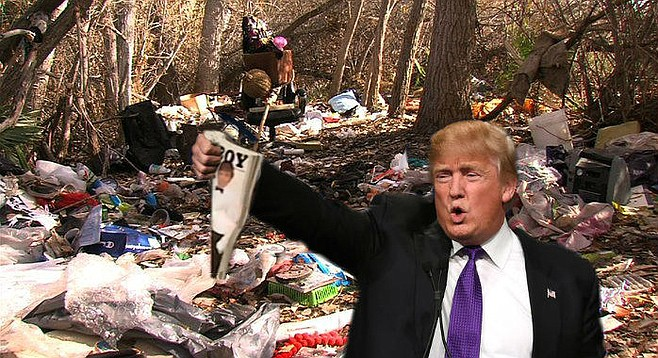 "Gold amid the dross: Trump brandishes a copy of Playboy magazine featuring himself on the cover found amid the trash at this homeless encampment outside of Santee. ""The finding of vintage pornography in the woods is a hallowed coming-of-age tradition in America,"" he declared. ""The setting teaches young men that sexuality is natural, but at the same time, untamed and uncivilized. But what kind of message are we sending to America's youth if they find said pornography — particularly such a classy, quality, top-shelf example as this one, featuring myself on the cover and legendary Playmate Pamela Anderson on the inside — in a filthy, degraded atmosphere such as this? They're going to wind up associating their natural urges with shameful, stinking poverty and failure, with dissipation and wretchedness. And that's not the way to make America great again."" When aides reminded Trump that Ms. Anderson actually appeared in the previous month's Playboy, and further, that the Republican platform had officially adopted an anti-pornography stance, saying that pornography ""with its harmful effects, especially on children, has become a public health crisis that is destroying the life of millions,"" he shook his head and replied, ""I didn't get nominated by playing nice with the Republican establishment, and I'm not going to start pussyfooting around now that the chips are down. But if that's true about Pam, it's a shame. Old Hugh [Hefner] came this close to putting the two greatest blondes of a generation together in one issue."""