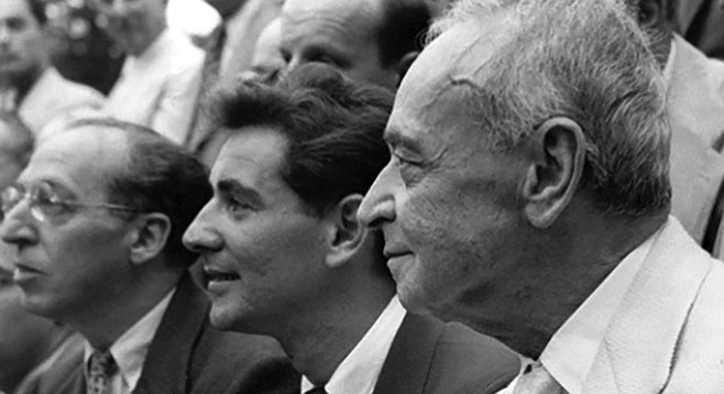 Leonard Bernstein, center; Serge Koussevitzky, foreground; Aaron Copland, background.