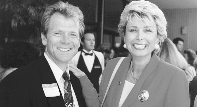 Peter Navarro and Lynn Schenk, April 1996. Lynn is a tough, intelligent, articulate, and stunning blonde who looks, acts, and sounds perfect for politics.