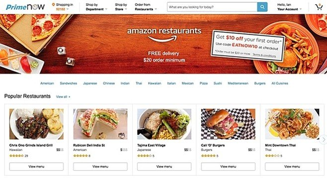 Amazon enters the restaurant-delivery game.