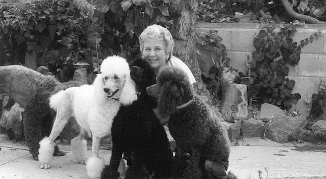 "Jan Gelin with Willow, Jet, and Tutti. ""I have dogs in La Jolla, Beverly Hills — very wealthy people buy my dogs."""