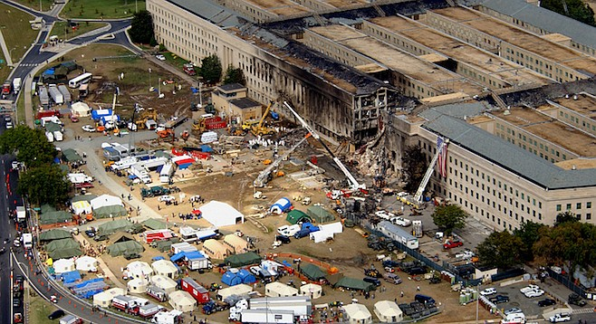 Aerial view of the terrorist attack on the Pentagon on September 11, 2001.