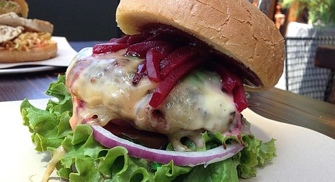 Beets overwhelm the lamb burger